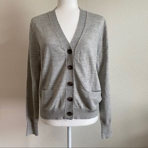 J. Crew Gray Merino Wool Sweater Cardigan Large
